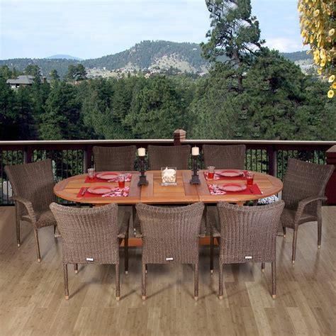 Brown Patio Dining Sets Shop International Home Amazonia 9 Brown Eucalyptus