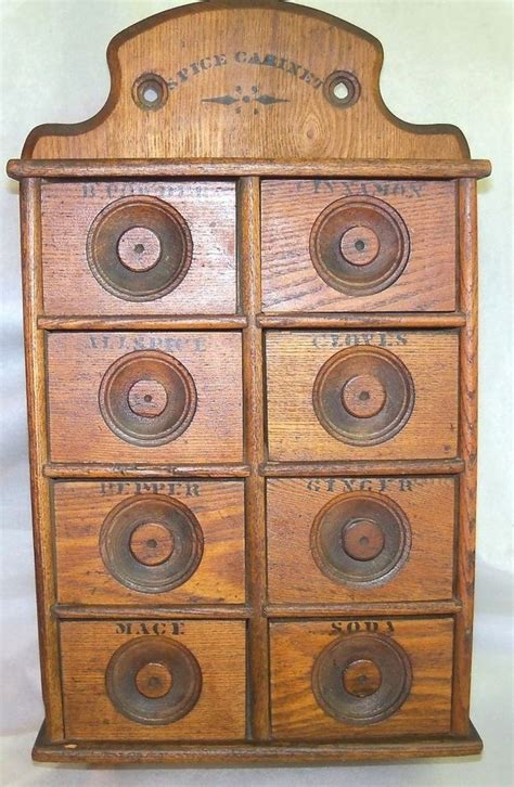 antique oak wood stencil wall mount 8 drawer spice