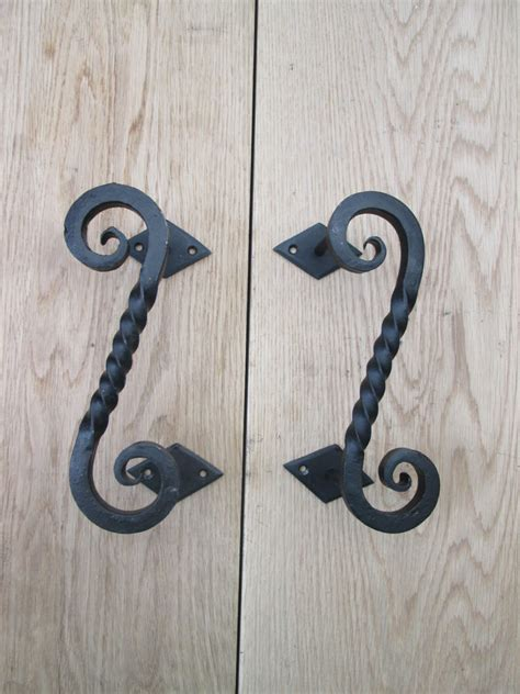 1 Pair Wrought Iron Hand Forged Heavy Decorative Door Barn Wrought Iron Barn Door Handles