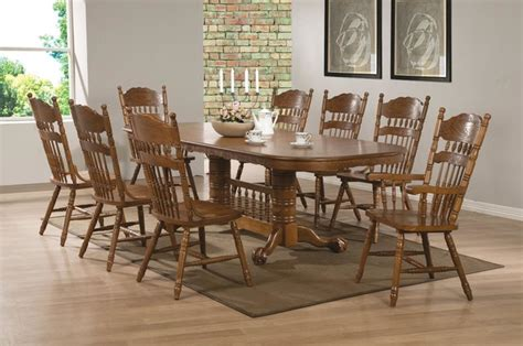 9 pc country oak wood dining room set pedestal base 18