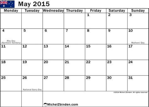 Australian Calendar Template 2015 by Free Printing Of May 2015 Calendar Holidays In Australia