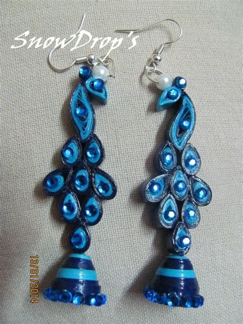 How To Make Jhumka Earrings With Quilling Paper - peacock jhumkas snowdrop s quilling earrings