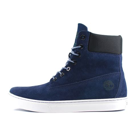 mens timberland 6 inch cupsole navy blue black suede boots