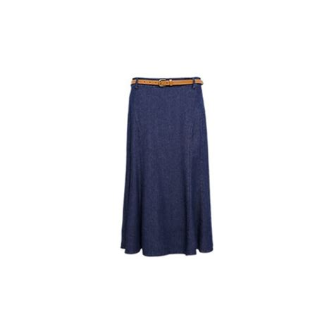 panelled denim skirt with belt marks and spencer granatowy