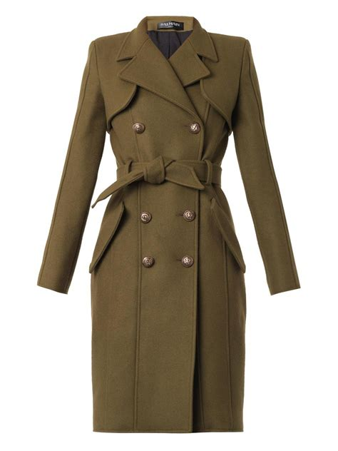 In Coat by Balmain Doublebreasted Wool Trench Coat In Green Lyst
