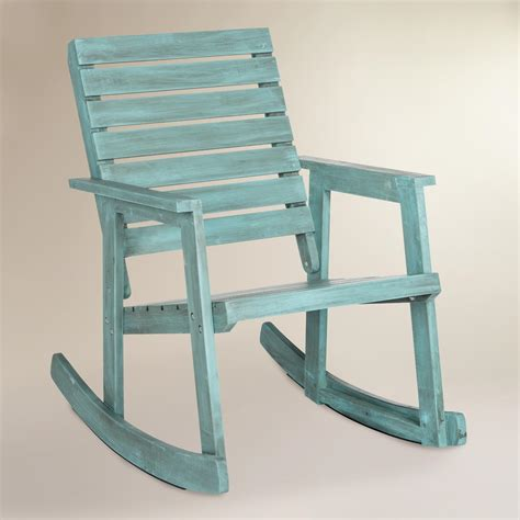 Outdoor Wood Rocking Chair by Sea Blue Wood Outdoor Rocking Chair World Market