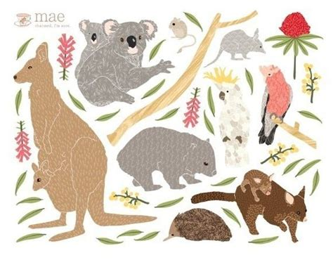 australian animal wall stickers wall decals australian animals reusable and removable fabric sticker