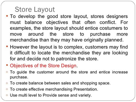 retail layout objectives store design