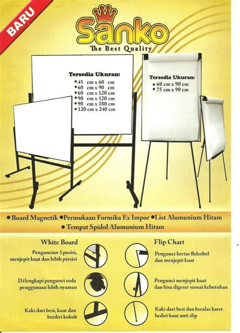Jual Flip Chart Keikoboard Kaskus jual papan tulis white board softboard flip chart
