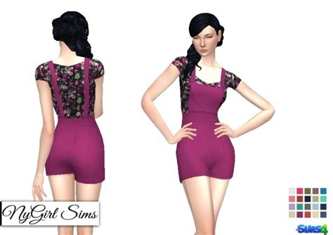 sims 4 overall shorts overall shorts with floral t shirt at nygirl sims 187 sims 4