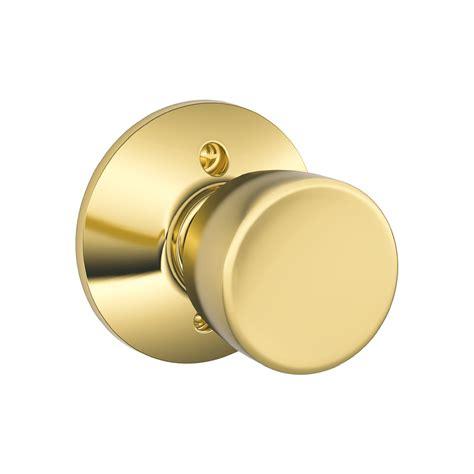 Schlage Glass Door Knobs Shop Schlage F Bell Lifetime Bright Brass Dummy Door Knob At Lowes