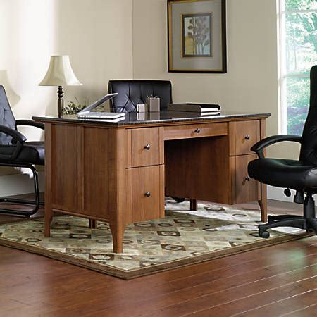 marble top computer desk sauder appleton faux marble top executive desk sand pear