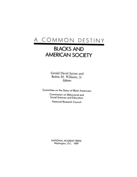 Criminal Record Statement 508 A Common Destiny And American Society