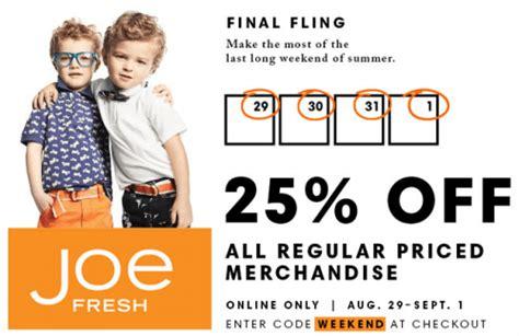 Joe Fresh Gift Card Canada - joe fresh final summer fling sale take 25 off regular priced merchandise