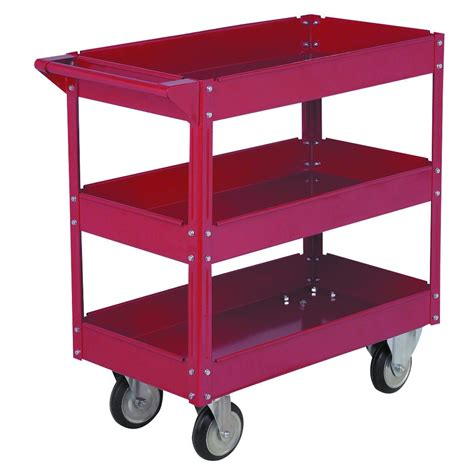 30 in x 16 in three shelf steel service cart