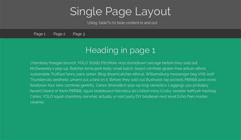 css layout js single page layout using jquery to hide and reveal content