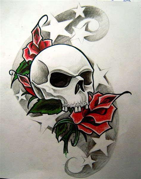 skull roses and stars by widenius on deviantart