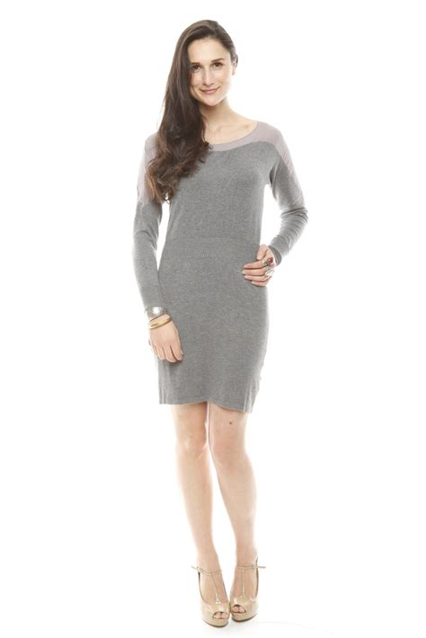 Sweater Dress - thml grey sweater dress from lincoln by embellish shoptiques
