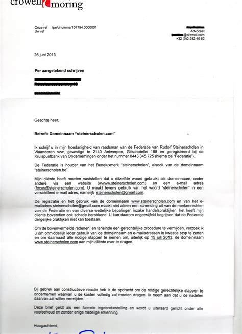 brief opstellen bod huis federatie steinerscholen wil criticus via juridische weg schaakmat zetten