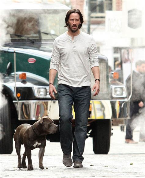in wick 2 keanu reeves not sad and with a on the set of wick 2 in nyc lainey gossip