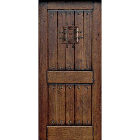 30 In X 80 In Rustic Mahogany Type Prefinished Solid Wood Exterior Door Slab