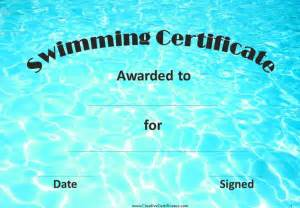 swimming certificates templates free swimming certificates