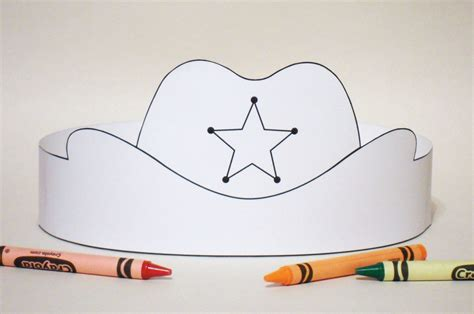 How To Make A Paper Cowboy Hat - cowboy hat paper crown color your own printable