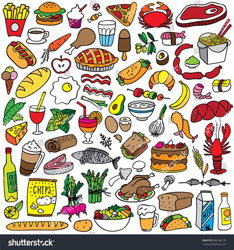 doodle food eps food doodles set stock vector 366166130