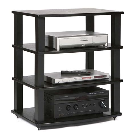 plateau xt series heavy duty 4 shelf wood audio rack black