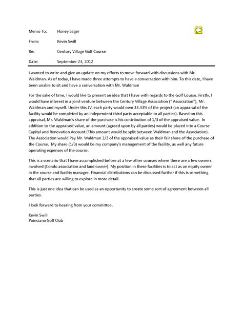 Offer Letter For Joint Venture Our In West Palm December 2012