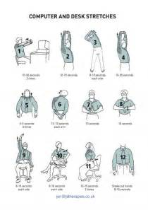 Desk Stretches At The Office Computer And Desk Stretches Fitness And Health Chair And Exercises