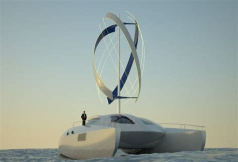 boat wind turbine adamastor smartwind eco friendly electric catamaran