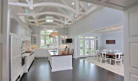open kitchen design ideas open kitchen with ceiling beams luxury custom white kitchen design with dark wood floor