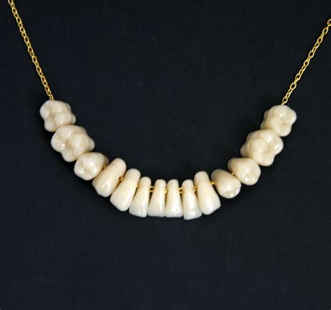 made to order human teeth tooth necklace pendant gold sterling