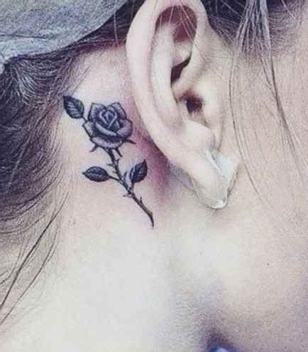 behind the ear rose tattoos best small ideas designs ideas for and