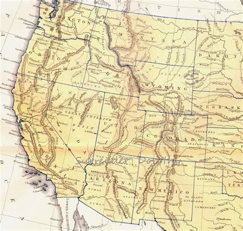west coast map of usa stati uniti d epoca mappa west coast 1871 vittoriano