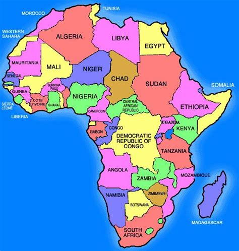 africa map in color beautiful solid color printable africa map for teachers
