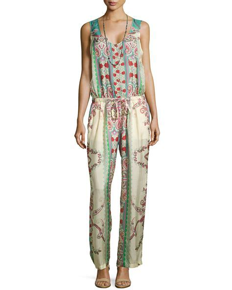 Johnny Was Chettl Sleeveless Printed Georgette Jumpsuit