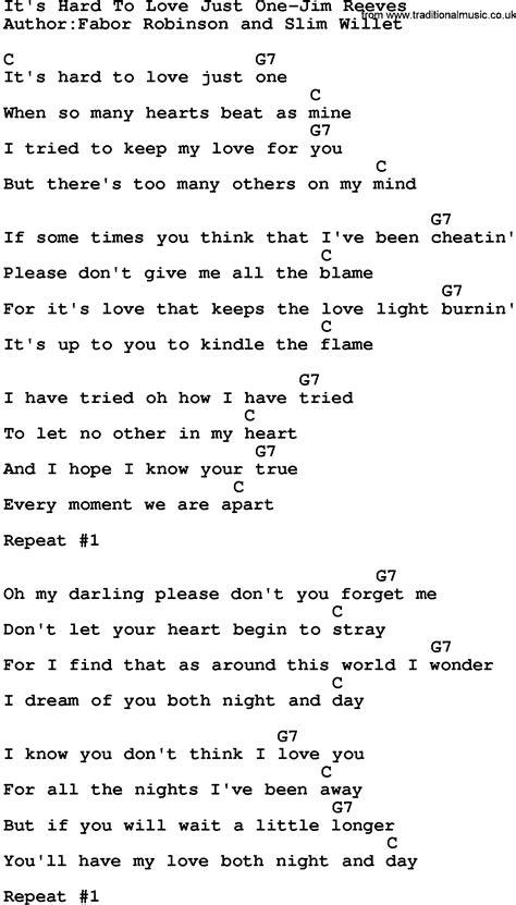 country music lyrics hard to love country music it s hard to love just one jim reeves lyrics