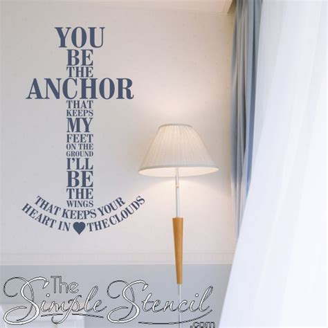 You be the anchor i ll be the wings romantic nautical vinyl wall quote simple stencils
