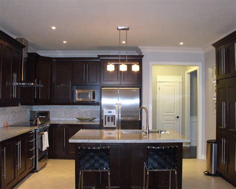 shaker style espresso kitchen cabinets light floors