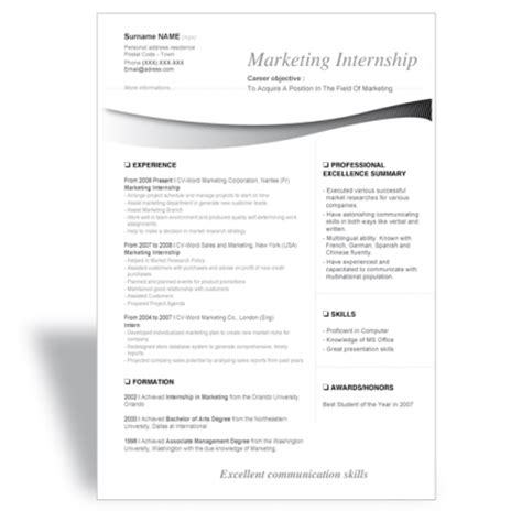 marketing resume templates word word cv resume template marketing