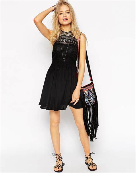 Asos Crochet Strapless Dress lyst asos halterneck crochet mini dress in black