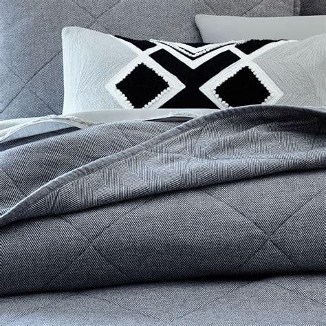 charcoal coverlet flannel herringbone coverlet shams charcoal west elm