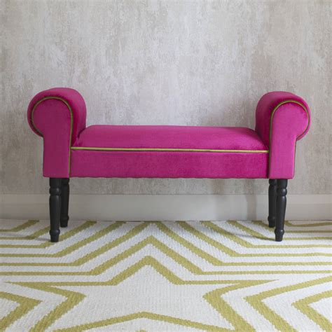 pink bench pink velvet bench by i love retro notonthehighstreet com