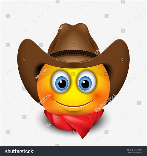 Smile Hat smiling emoticon wearing cowboy hat stock vector