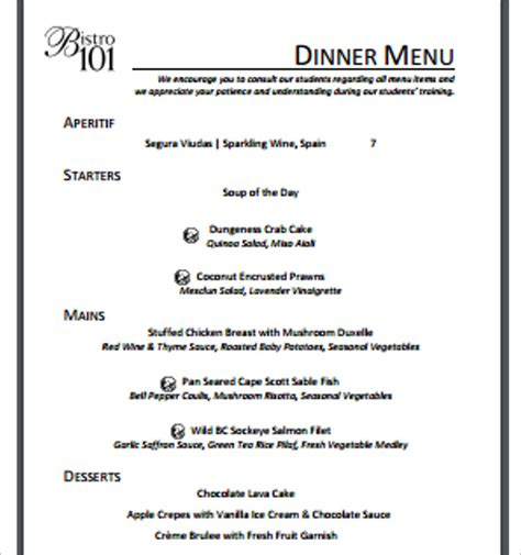 menu templates free pdf word documents
