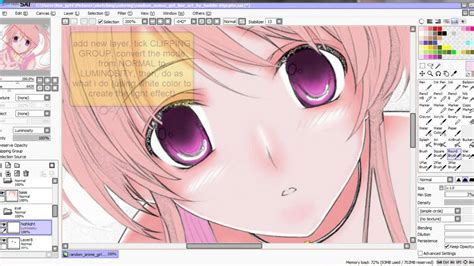 tutorial on how to color eye in sai paint tool using mouse