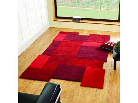 abstract red collage  wool modern living room rug