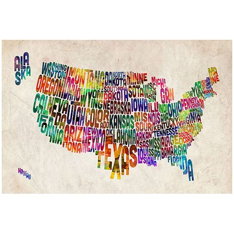 trademark quot united states text map ii quot canvas wall